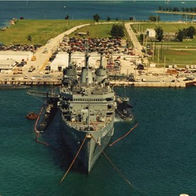 USS Holland with the submarines she supports alongside.