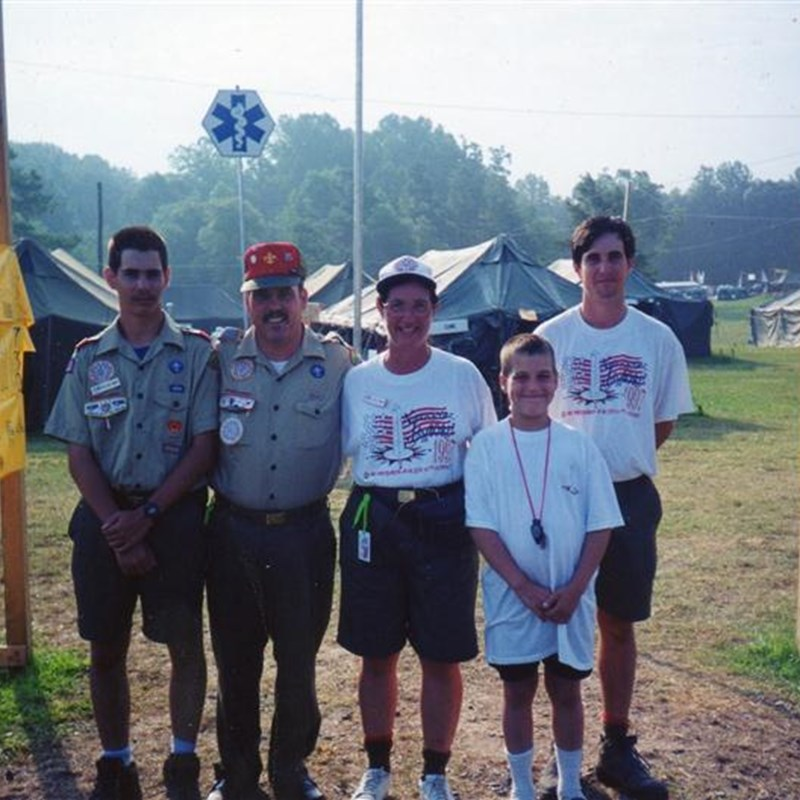 At the Boy Scouts National Jamboree, 1997. All three boys are Eagle Scouts & now have Bachelors Degrees, married, and three grandchildren. Louise did all the hard work while I was driving Navy ships!