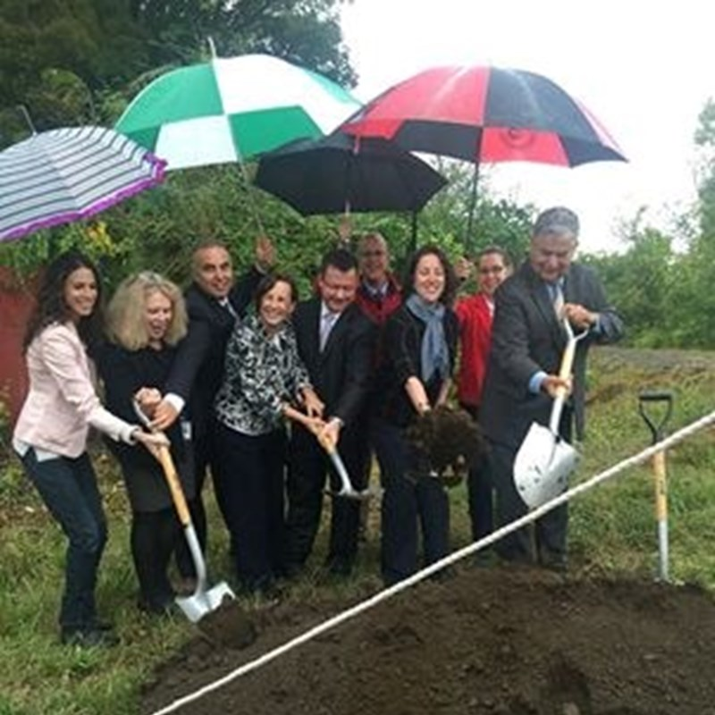 Tom participates in the Rail Trail Ground Breaking on October 9, 2015.  Trail will create a loop from Bradford to downtown via the Comeau and Basiliere Bridges.   Photo: David Van Dam