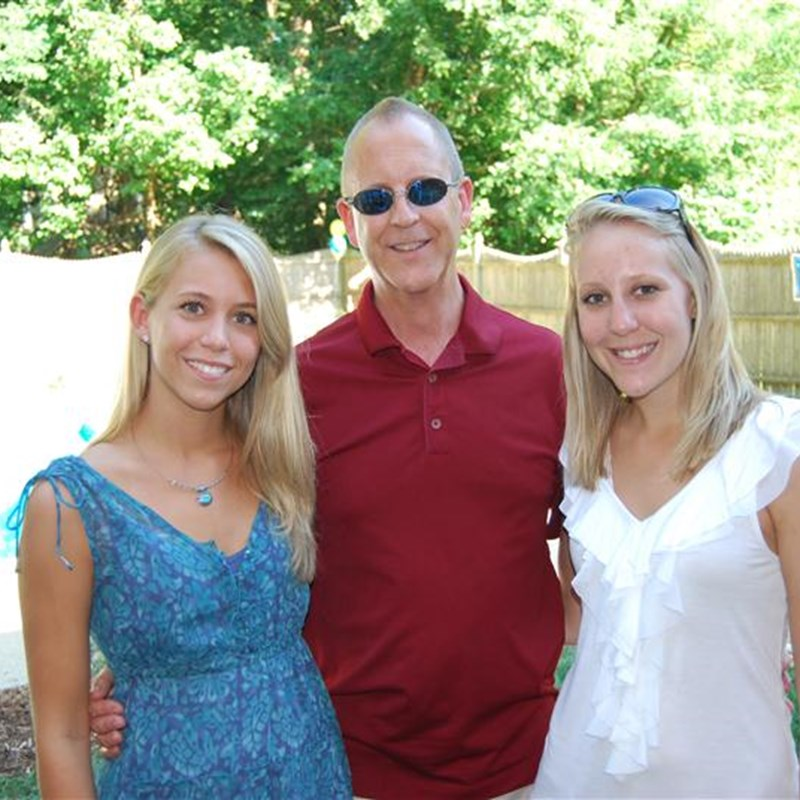 Tom with daughters Ellen and Julie.