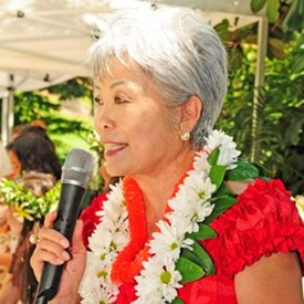 Founder and President of APCC Patsy Surh O'Connell gave welcome remarks to the Luau guests. (photo by Joseph Miceli Digimagery@yahoo.com)