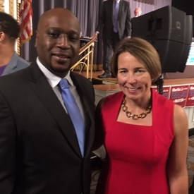 Massachusetts Attorney General Maura Healey and candidate for Cambridge City Council Richard Harding at the Labor Day Breakfast.  They support the same ideas, equal pay for equal work, the prevailing wage statue and respect and dignity on the job for all workers.