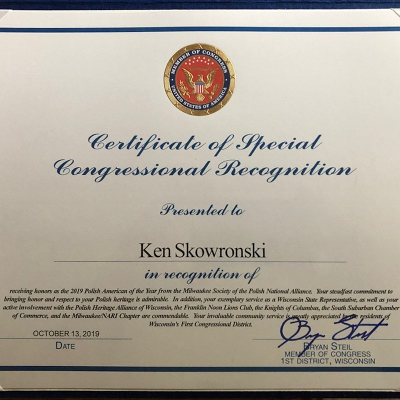 Certificate of Special Congressional Recognition issued by US Congressman Bryan Steil