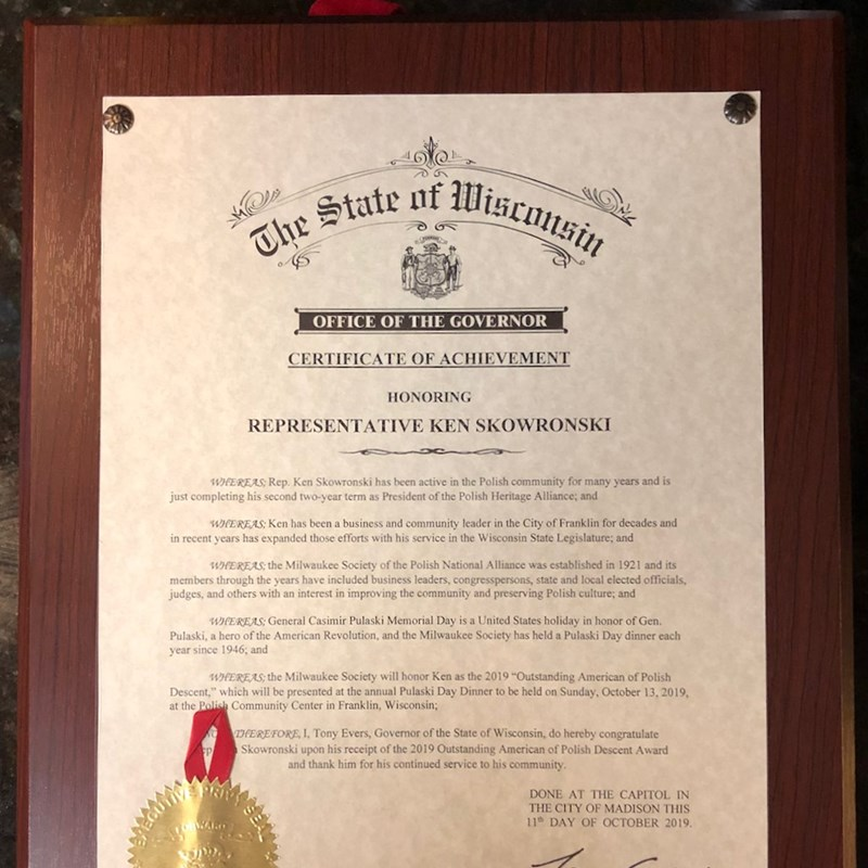 State of Wisconsin Office of the Governor Certificate of Achievement issued by Governor Tony Evers