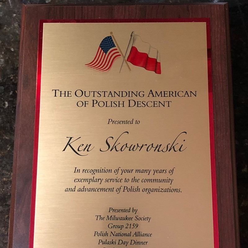 Outstanding American of Polish Descent Presented by The Milwaukee Society, Group 2159 Polish National Alliance, Pulaski Day Dinner