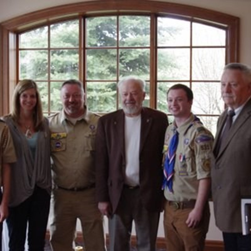 Eagle Scout Ceremony for Braden Schubring. Ken with Braden's family and Mayor Tom Taylor