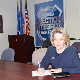 Barbara Cegavske registering as a candidate for Nevada Secretary of State for the 2014 election cycle.