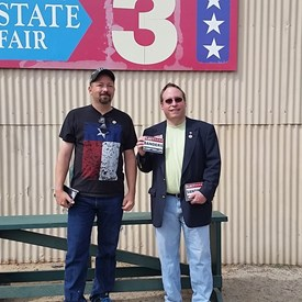 Joel Gardner candidate for Texas House of Representatives and I together at the East Texas State Fair.  Thanks Joel for having me at the event.