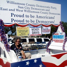 Getting the Dem float ready for the Granger Lake Fest parade.