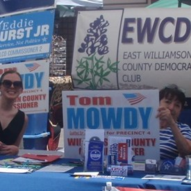 Eryn Driggers and Liz Littrel at the Dem booth, Taylor Zest Fest.