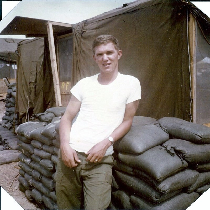 In front of my tent at Camp Evans in northern South Vietnam, 1968.