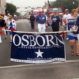 Chris Osborn, candidate for TX Dist 52 Representative, had the right idea for the parade.