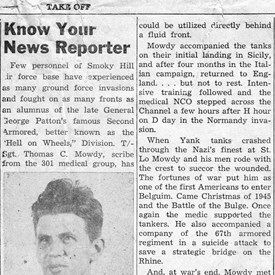 A news article on my father, Tom Mowdy Sr., from Smokey Hill AFB, after World War II.