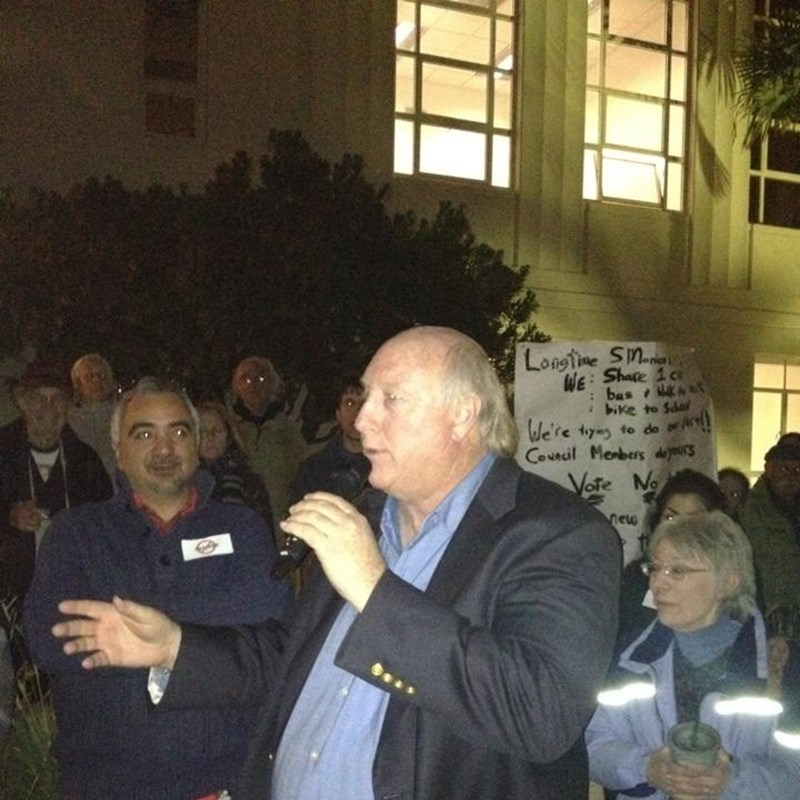Speaking to a rally outside Santa Monica City Hall. We were rallying to stop the Bergamot Village Plan. The Council wouldn't listen so we forged our own path and overturned the Council decision.