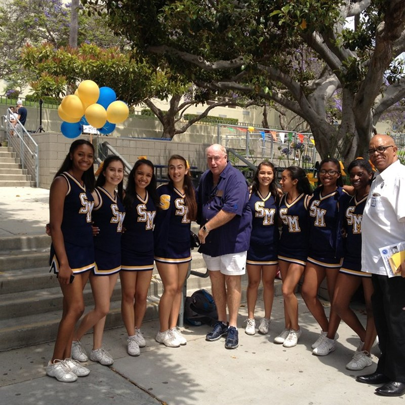 With the Samohi cheerleaders. I'm a proud Viking!