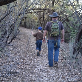 Kevin and Kaleb going for a hike.