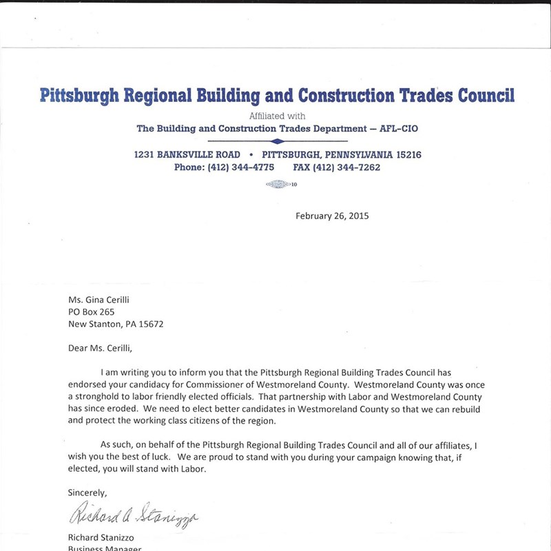 I am proud to announce that I have been endorsed by The Pittsburgh Regional Building and Construction Trades Council.
