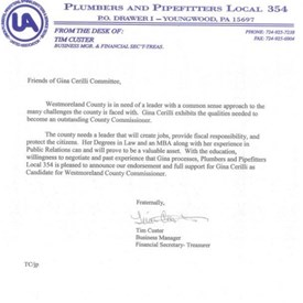 I am truly humbled to have received the full support and endorsement of The Plumbers and Pipefitters Local 354
