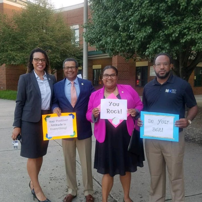 Greeting students on the first day of school at Heritage High School with Principal Shameka Gerald, Mayor McKinley Price, and School Board Member John Eley