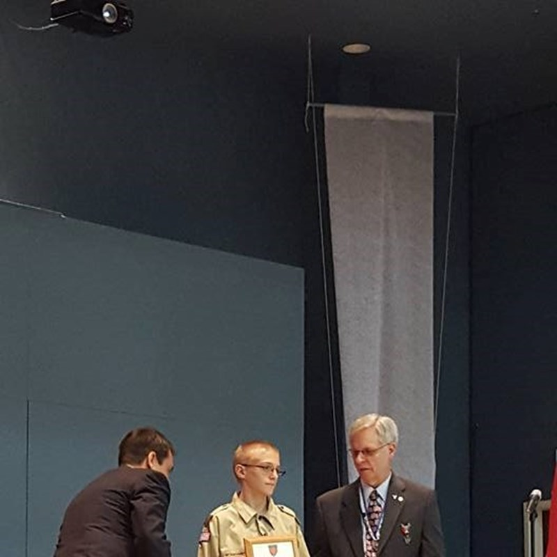 At the Eagle Scout ceremony, this young man was given an award for helping save lives.  His courage and bravery are inspiring!