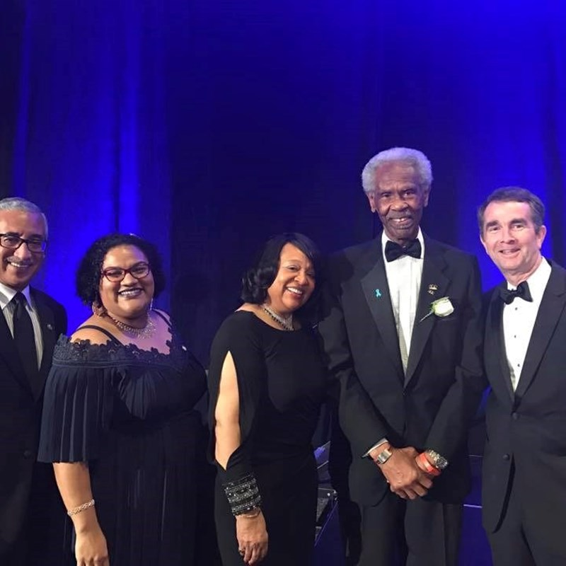 Lt. Governor Ralph Northam, Congressman Bobby Scott, and award winners Charlie and Golden Hill at the 2017 100 Black Men Gala