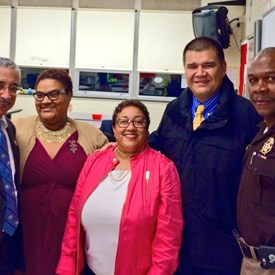 Marcia is with other panelists and guests: Congressman Bobby Scott, Valerie Price, Vice Mayor Rob Coleman, and Sheriff Gabe Morgan at the RISE Against It Violence Prevention Program at Denbigh High School. The event was hosted by the Teens Against Youth Violence and Lambda Omega Chapter of Alpha Kappa Alpha Sorority, Inc.