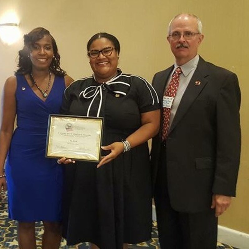 Receiving an award for Community Service from the Hampton Democratic Committee