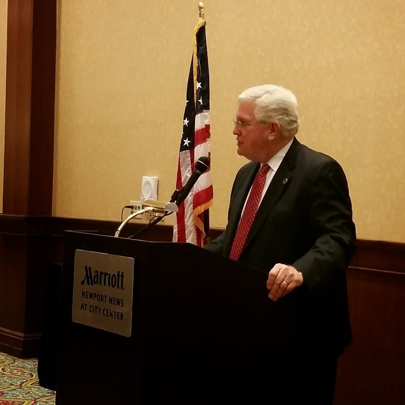 Sen. John Miller discussing his experience in the 2014 Legislative Session at his Community Leaders Breakfast in January.