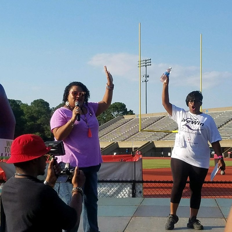 Giving remarks about the importance of voting during the Hampton Roads Walk to End Lupus in June