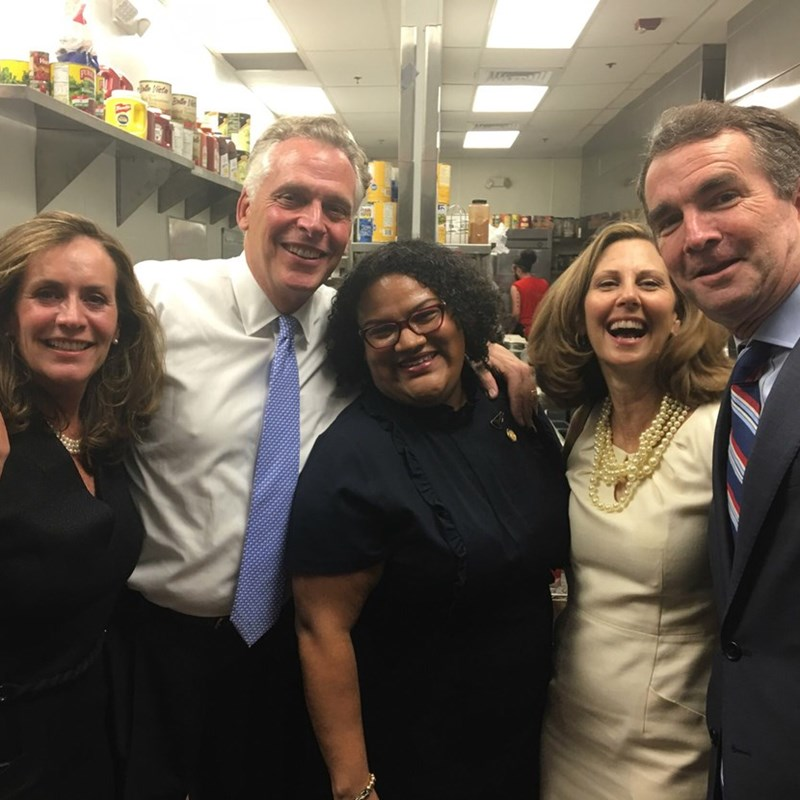 Primary Election Night with Gov. Terry McAuliffe, Lt. Governor Ralph Northam (Democratic Nominee for Governor), First Lady Dorothy McAuliffe, Mrs. Pam Northam, and me in Arlington, VA