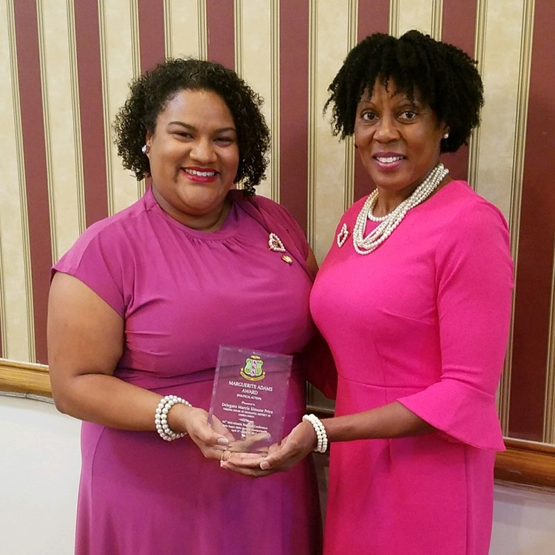 Receiving the Margaurite Adams Political Action Award from the Mid-Atlantic Regional Conference of Alpha Kappa Alpha Sorority, Inc.