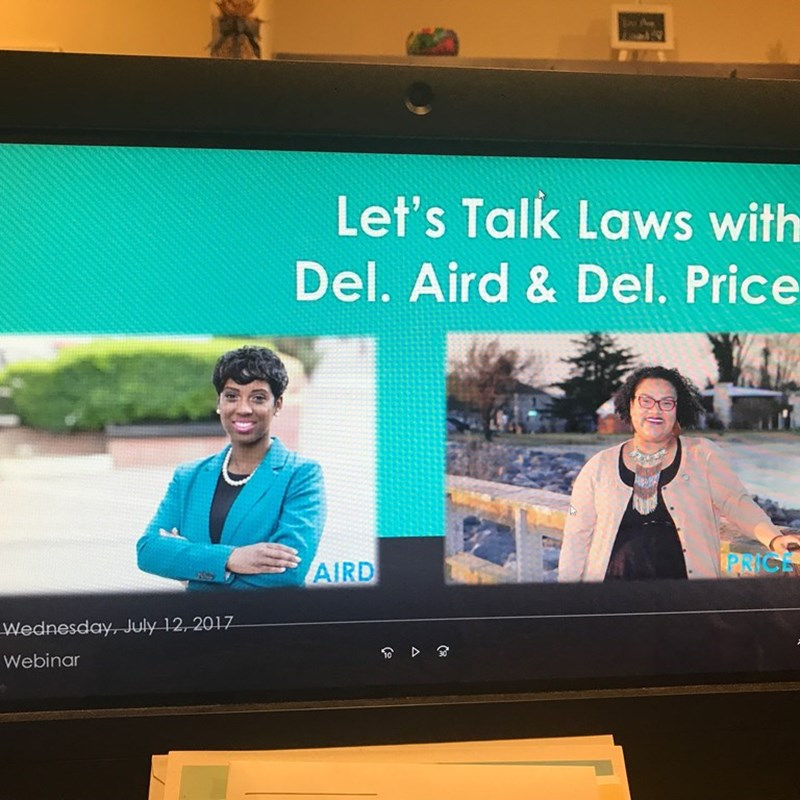 This summer, Del. Lashrecse Aird and I held a webinar on the new laws that went into effect on July 1st.