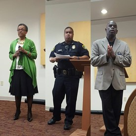At the March Southeast Townhall held at the Downing Gross Cultural Arts Center, Councilwoman Cherry hosted NNPD Capt. Randall and School Board Member Ashby to discuss matters involving the community.