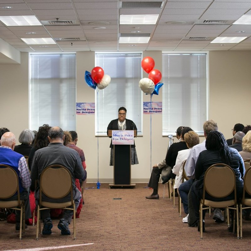 Great turnout of supporters to hear the announcement! Photo by DB Wallace