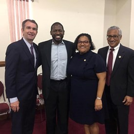 Lt. Governor Ralph Northam, Congressman Bobby Scott, Rev. Willard Maxwell and me after a rousing service at New Beech Grove Baptist Church