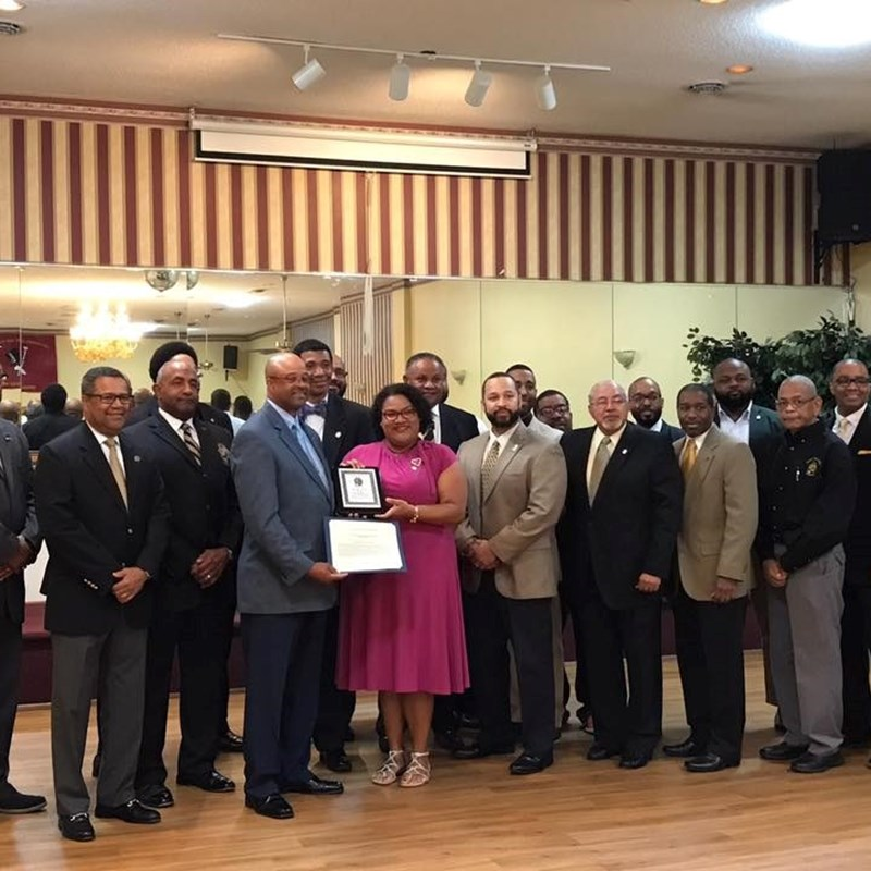 Receiving the 2017 Community Service Award from Zeta Lambda Chapter of Alpha Phi Alpha Fraternity, Inc.