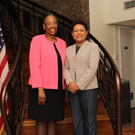 Judge Whitener meets with US Embassy Chargé d'Affaires, Margaret B. Diop.