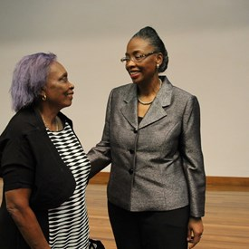 Judge Whitener with her mother, Joyce Pierre who spoke of her personal journey from intolerance to acceptance and respect