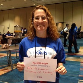 Carol attended the NEA convention in July of 2015 where a hot topic was the upcoming overhaul of No Child Left Behind (ESEA).