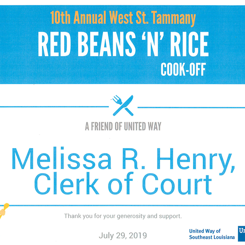 West St. Tammany United Way Red Beans & Rice Cook-off 2019