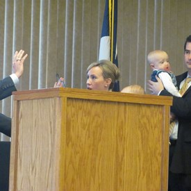 First swearing-in ceremony as Associate Judge of the 418th District Court.  Claire was 14 months old and made it clear the ceremony wasn't taking place unless she was on my hip.