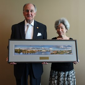 """I was the recipient of the North Carolina Land Trust """"Legislator of the Year"""" for my work on the Venus Fly Trap Legislation.  I received a wonderful picture of the City of Wilmington as viewed from the Cape Fear River.  This is a picture of the award presentation by the local Executive Director for the North Carolina Land Trust, Camilla Herlevich"""