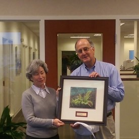 """I was the recipient of the North Carolina Land Trust """"Legislator of the Year"""" for my work on the Venus Fly Trap Legislation.   This is a picture of the award presentation by the local Executive Director for the North Carolina Land Trust, Camilla Herlevich."""