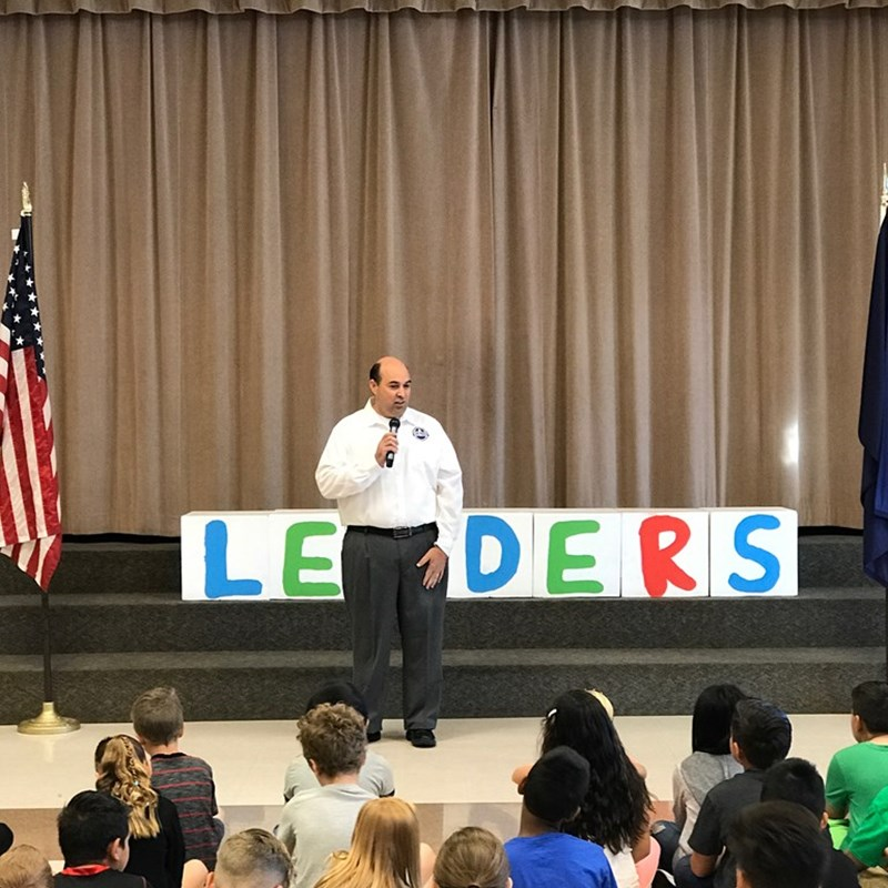 Speaking at Heritage Elementary.