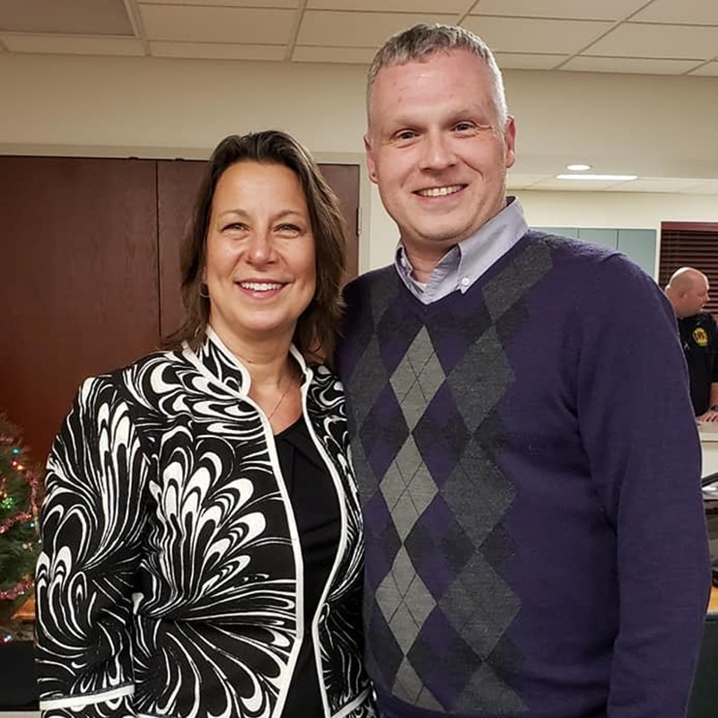 Bristol Clerk-Treasurer Cathy Antonelli with Elkhart County Democratic Chairman Chad Crabtree