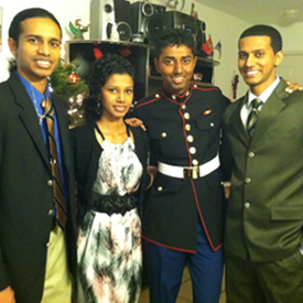 Dec. 2011: With my siblings after midnight mass at St. Christopher's Catholic Church.