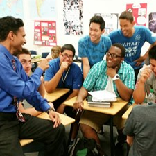 With my students at Rancho High School. I graduated from Rancho myself and my student still love hearing stories about