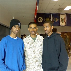 Feb. 2007: With my younger brothers right before deploying to Iraq.