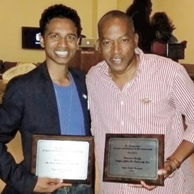 Lawrence Weekly and I receiving an award for our work within Southern Nevada's African-American communities.