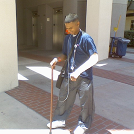 Jul. 2007: Staying positive after one of many bone graft surgeries at Balboa Park Naval Hospital.